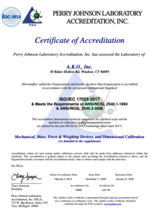 ISO 17025 Certification