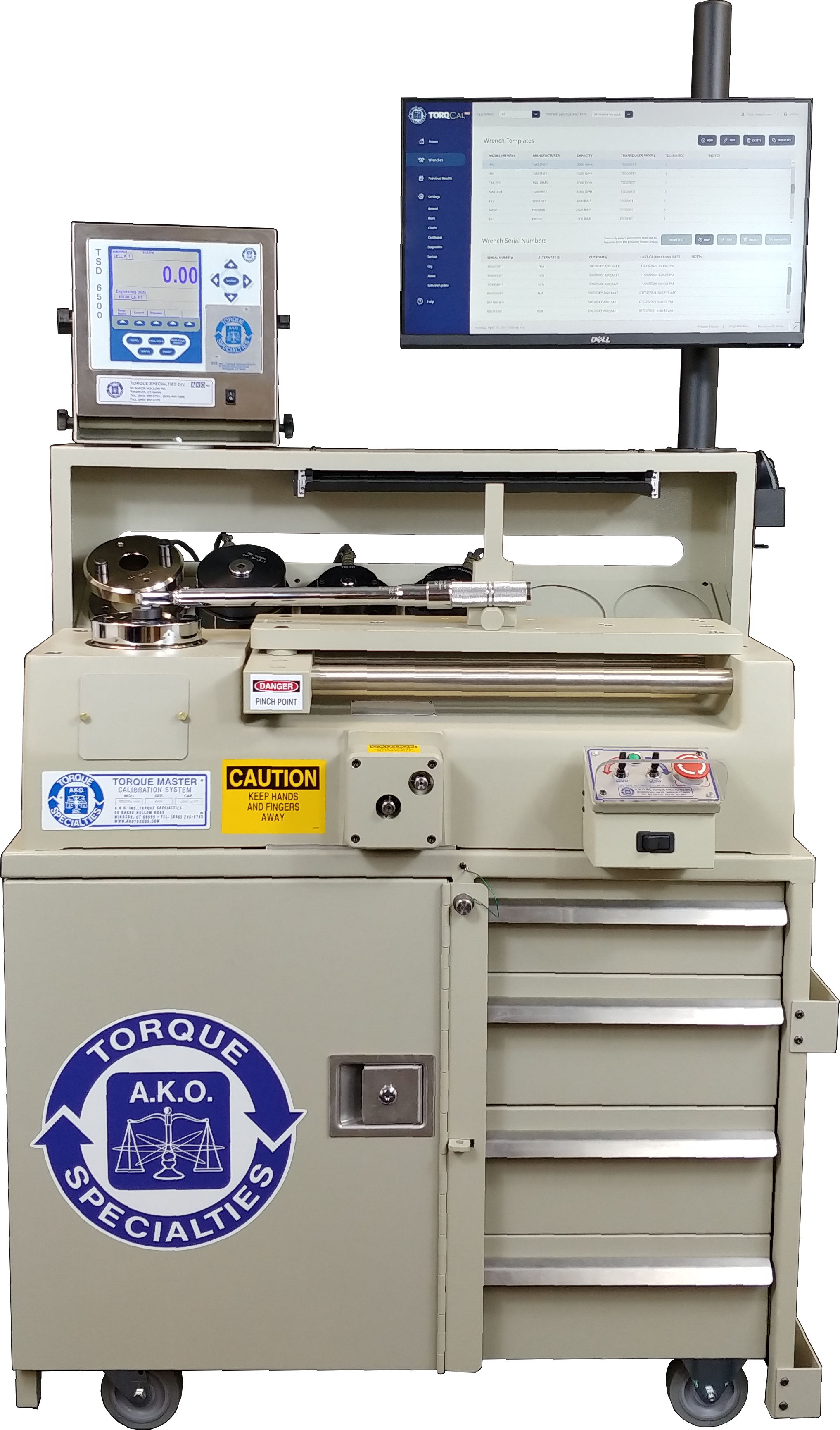 TSD2060 Pro automated system for click wrench calibration against transparent background