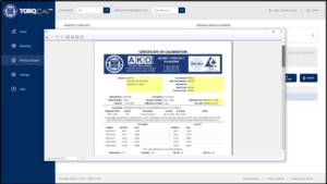 torqcal calibrating software certificate generation screen